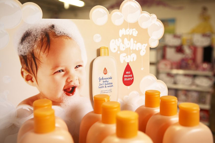 Johnson's Baby Bubble Bath store display unit